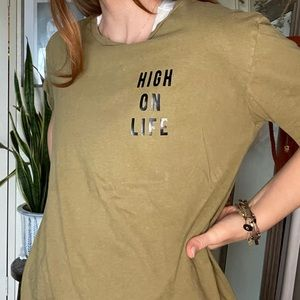 "Vintage 1970s Upcycled Shirt  ""high On Life"""